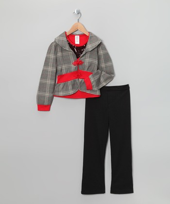 Red & Black Glen Plaid Jacket Set - Toddler & Girls