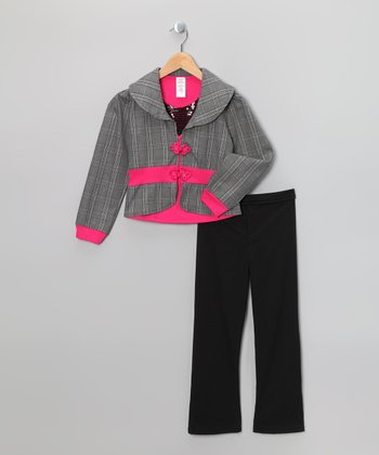 Fuchsia & Black Glen Plaid Jacket Set - Toddler & Girls