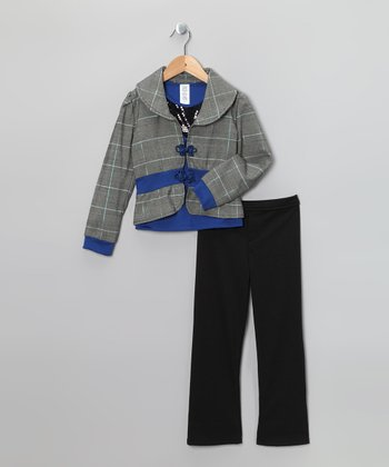 Royal & Black Glen Plaid Jacket Set - Toddler & Girls