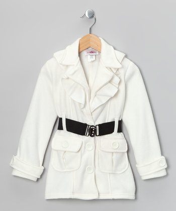 Cream Fleece Belted Coat - Toddler & Girls