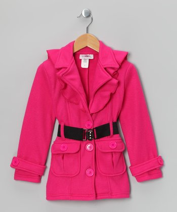 Fuchsia Fleece Belted Coat - Toddler & Girls