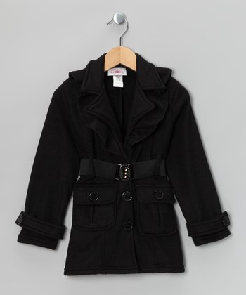 Black Fleece Belted Coat - Toddler & Girls