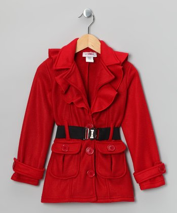 Red Fleece Belted Coat - Girls