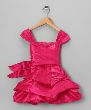 Fuchsia Gathered Pick-Up Dress - Toddler & Girls