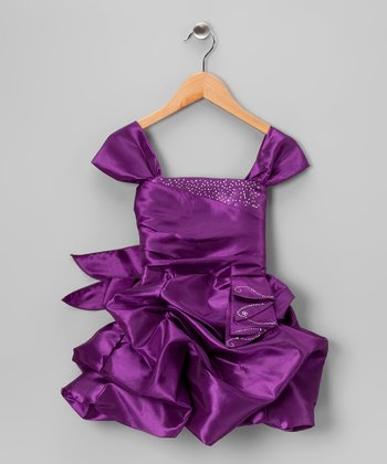 Purple Gathered Pick-Up Dress - Toddler & Girls