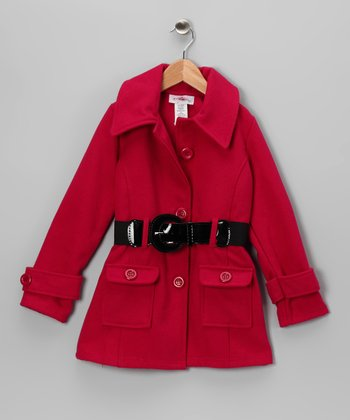 Fuchsia Belted Jacket - Toddler & Girls