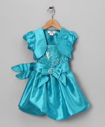 Aqua Sequin Bubble Dress & Shrug - Toddler & Girls