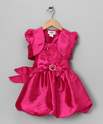 Fuchsia Sequin Bubble Dress & Shrug - Toddler & Girls