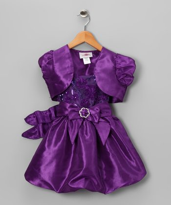 Purple Sequin Bubble Dress & Shrug - Toddler & Girls