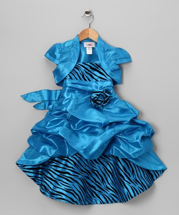 Blue Zebra Dress & Shrug - Toddler & Girls