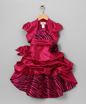 Fuchsia Zebra Dress & Shrug - Toddler & Girls
