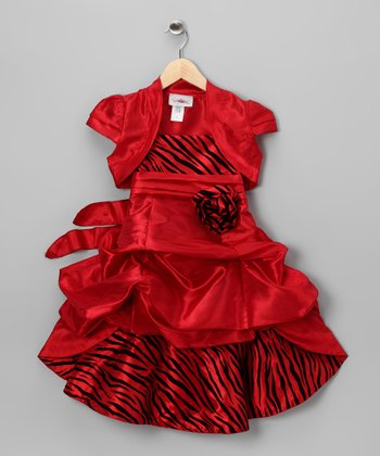 Red Zebra Dress & Shrug - Toddler & Girls