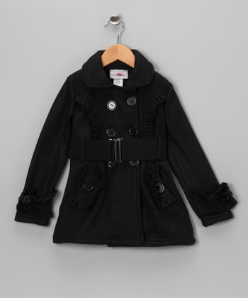 Black Ruffle Fleece Double Breasted Jacket - Toddler & Girls