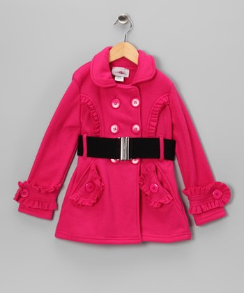 Fuchsia Ruffle Fleece Double Breasted Jacket - Toddler & Girls