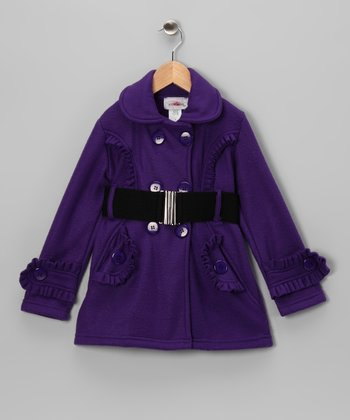 Purple Ruffle Fleece Double Breasted Jacket - Toddler & Girls