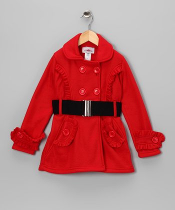 Red Ruffle Fleece Double Breasted Jacket - Toddler & Girls