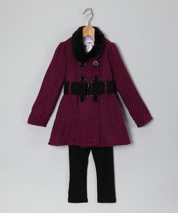Magenta Herringbone Coat & Pants - Toddler & Girls