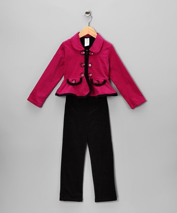 Fuchsia Corduroy Jacket Set - Toddler & Girls
