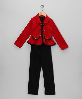 Red Corduroy Jacket Set - Toddler & Girls