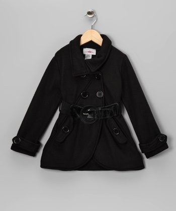 Black Fleece Double Breasted Jacket - Toddler & Girls