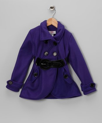 Purple Fleece Double Breasted Jacket - Toddler & Girls