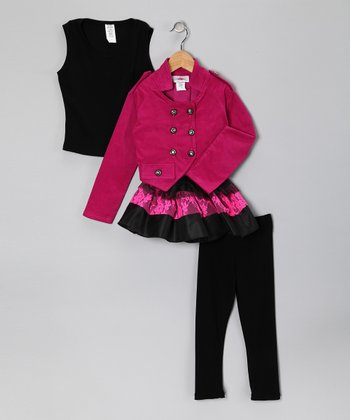 Fuchsia Double-Breasted Jacket Set - Toddler & Girls
