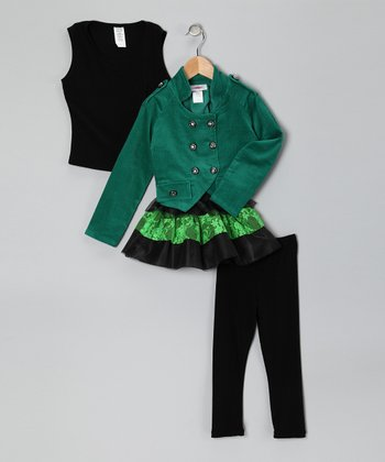 Green Double-Breasted Jacket Set - Toddler & Girls