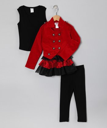 Red Double-Breasted Jacket Set - Toddler & Girls