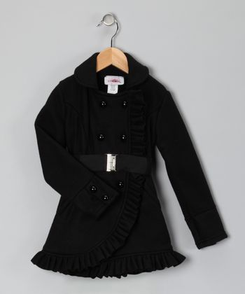 Black Ruffle Fleece Coat - Toddler & Girls