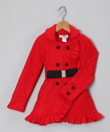 Red Ruffle Fleece Coat - Toddler & Girls