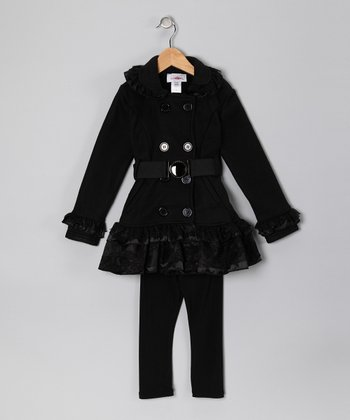 Black Lace Fleece Coat & Pants - Toddler & Girls