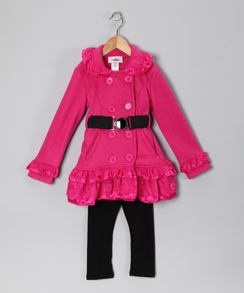 Fuchsia Lace Fleece Coat & Pants - Toddler & Girls