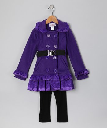 Purple Lace Fleece Coat & Pants - Toddler & Girls