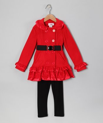 Red Lace Fleece Coat & Pants - Toddler & Girls