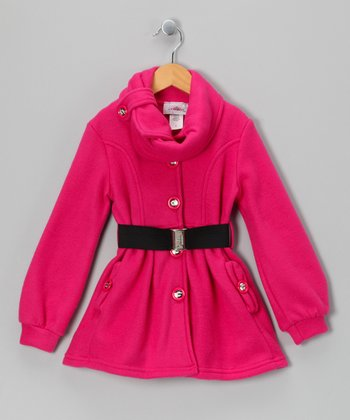 Fuchsia Belted Fleece Jacket - Toddler & Girls