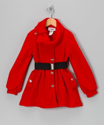 Red Belted Fleece Jacket - Toddler & Girls