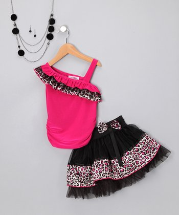 Pink Leopard Skirt Set - Toddler & Girls