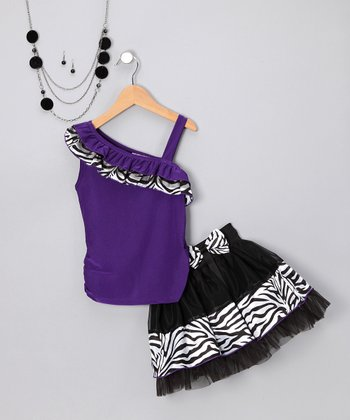 Purple Zebra Skirt Set - Toddler & Girls