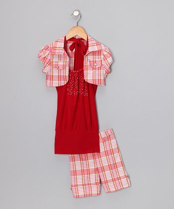 Red Plaid Shorts Set - Toddler & Girls