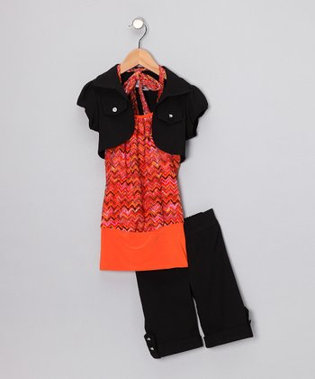 Orange Zigzag Shorts Set - Toddler & Girls