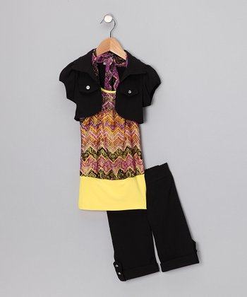 Yellow & Purple Zigzag Shorts Set  - Toddler & Girls