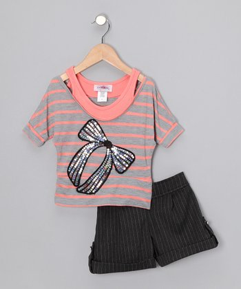 Orange Sherbet Stripe Bow Top & Shorts - Toddler & Girls