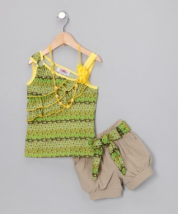Yellow & Green Khaki Shorts Set - Toddler & Girls