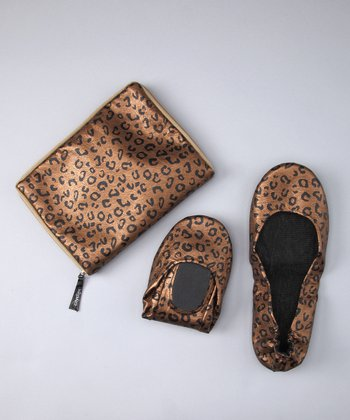 Brown Leopard Foldable Ballet Flat & Carrying Case