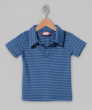 Deep Blue Stripe Polo - Infant & Toddler