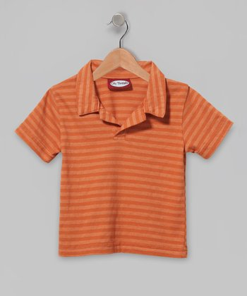 Orange Soft Stripe Jersey Polo - Infant