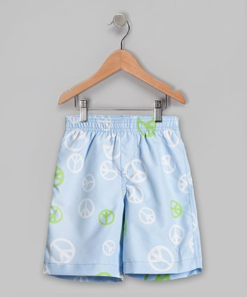 Baby Blue Peace Signs Swim Trunks - Infant, Toddler & Boys