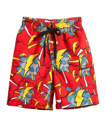 Red Superhero Lightning Swim Trunks - Toddler & Boys