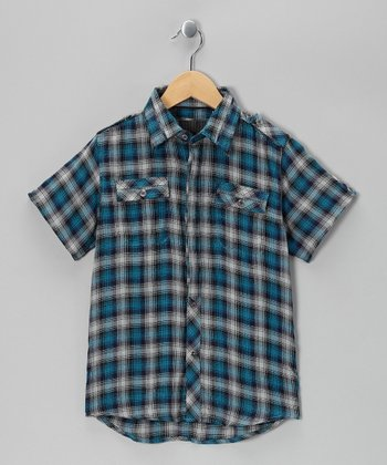 Blue Plaid Woven Button-Up