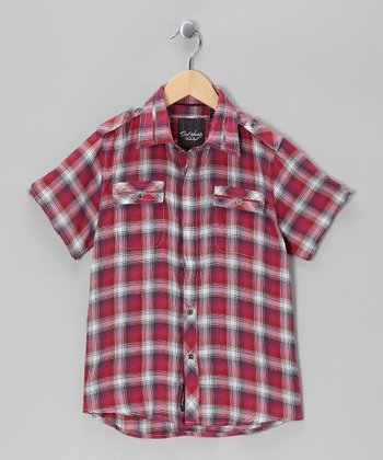 Red Plaid Woven Button-Up